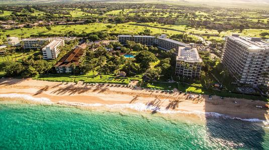 aerial shot of hotels on beach