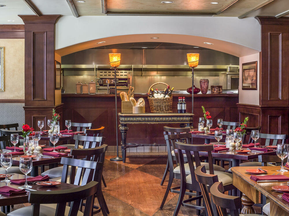 Margaux Restaurant with Kitchen in the Background