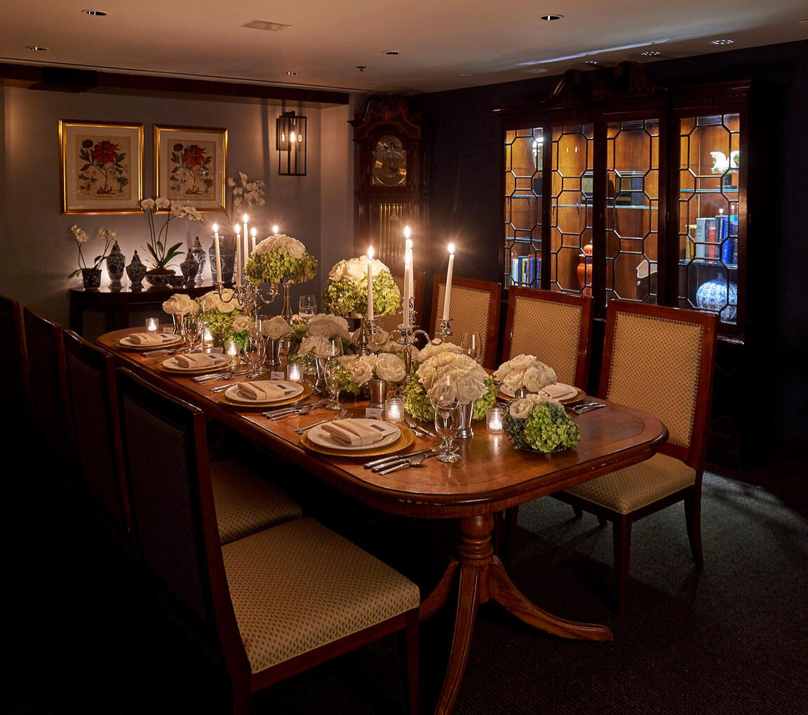 Dinner with dishes on the table at the restaurant at Warwick Den