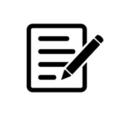 Icône fourniture papier et stylo