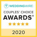 Square badge from WeddingWire for the 2020 Couple's Choice Award