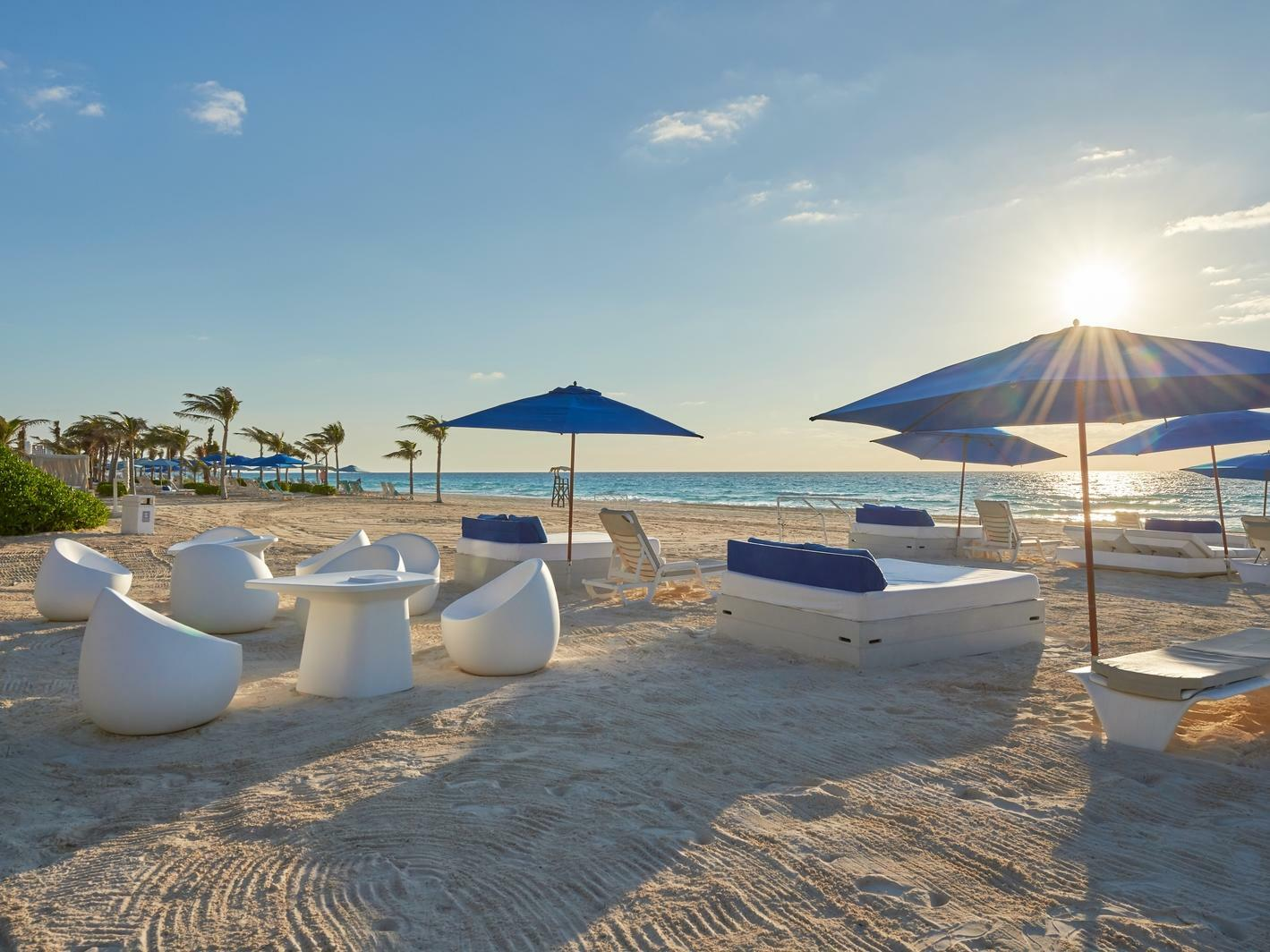 Beach Lounge Chairs and Tables