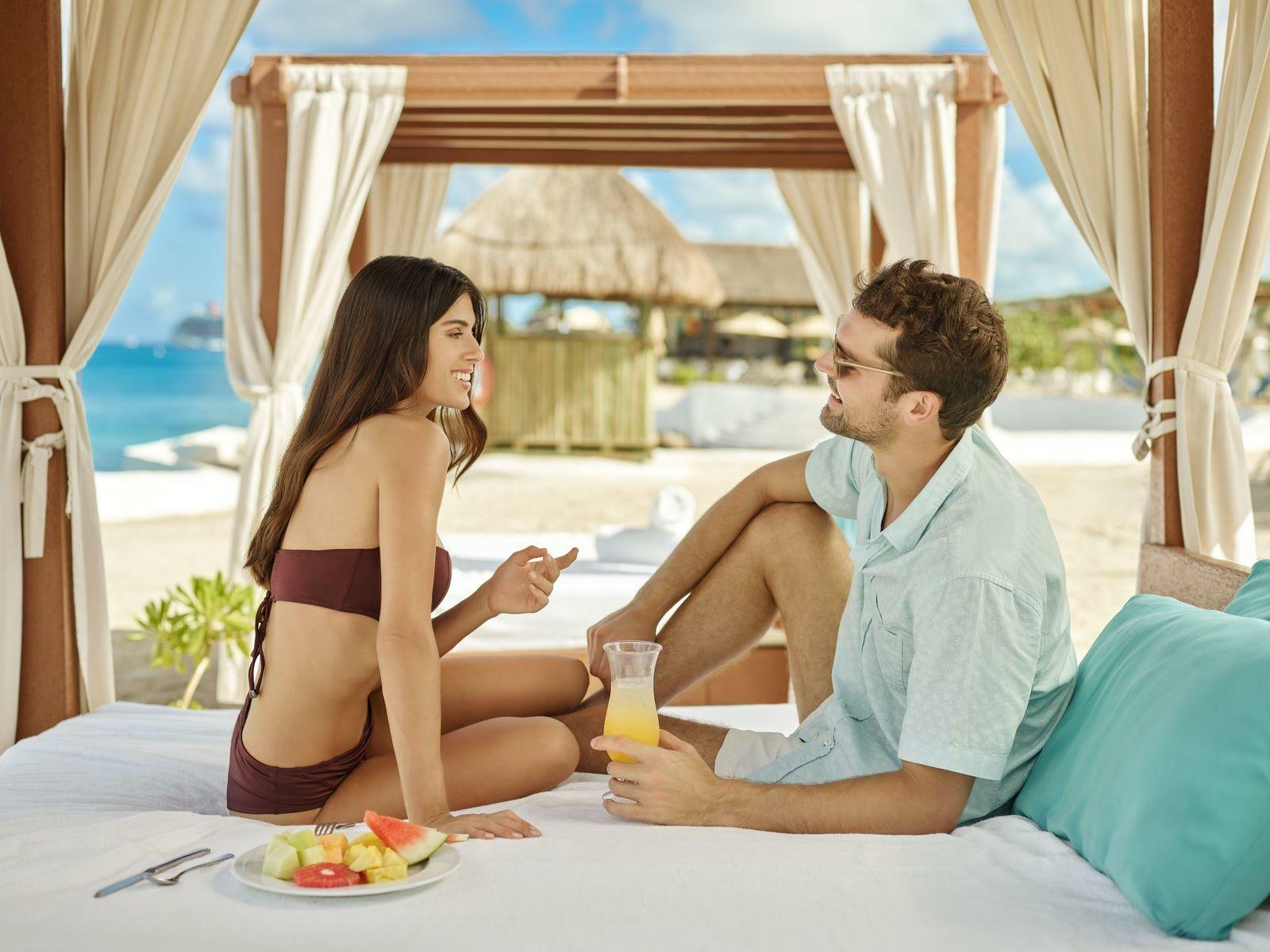 Couple in a cabana
