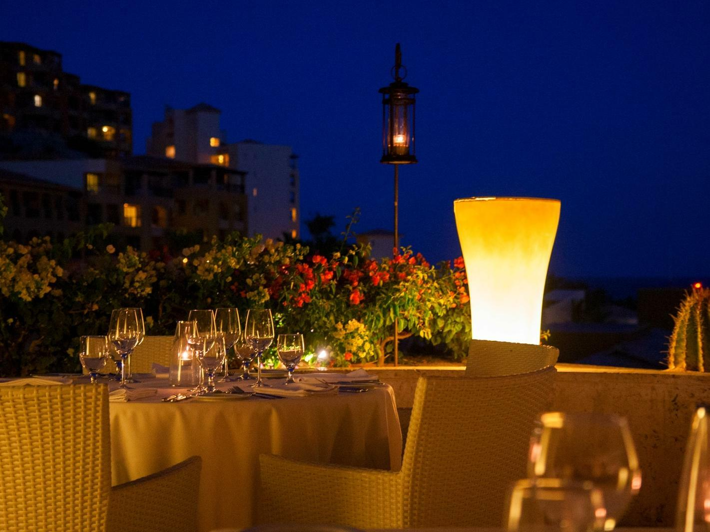 dining table on terrace at night