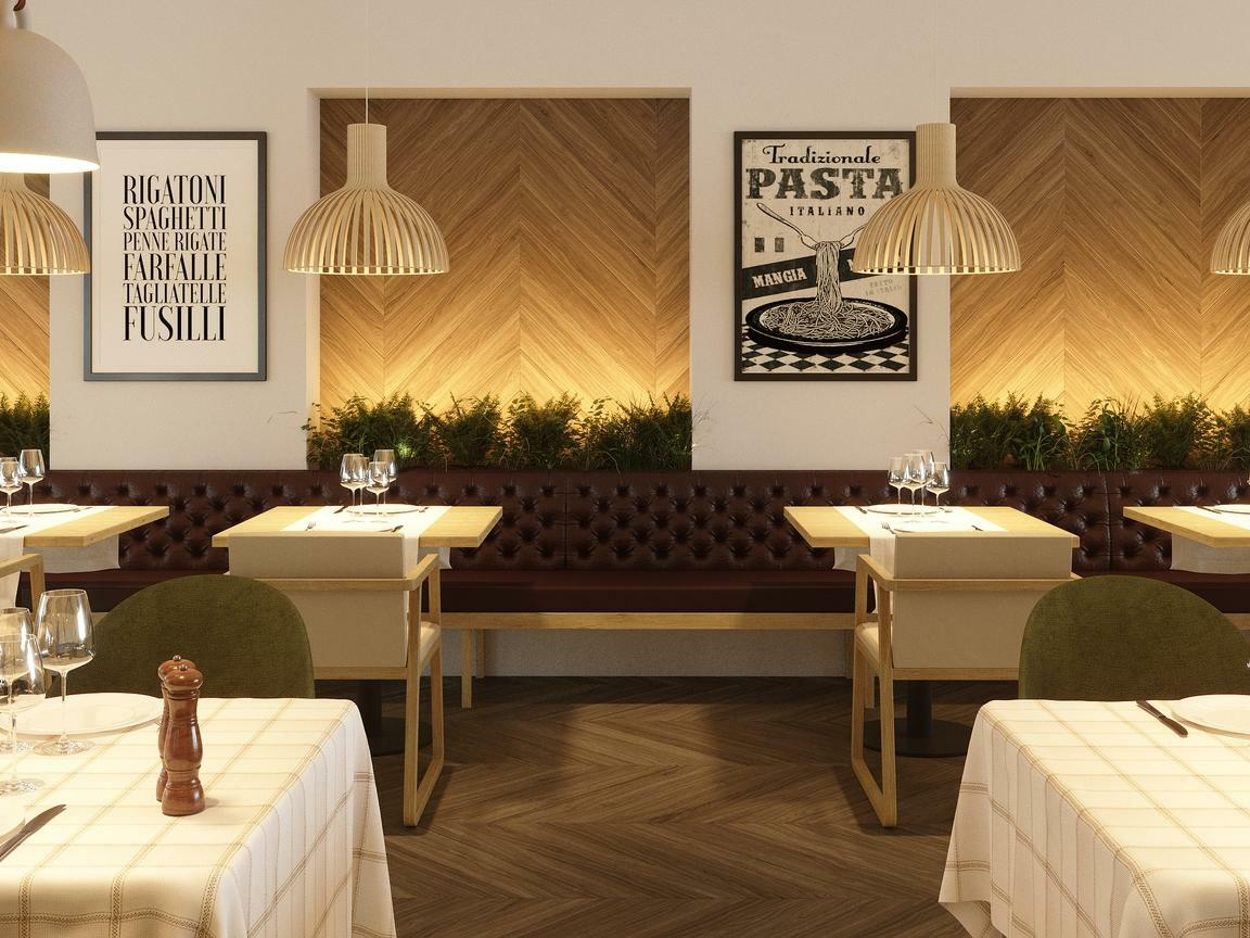 restaurant dining room with light colored