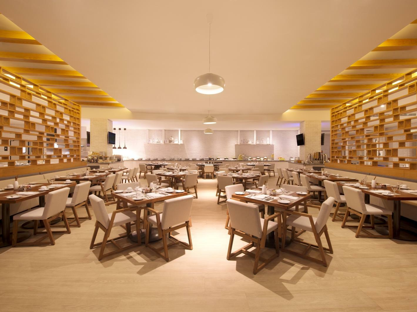 restaurant dining room with tables and chairs