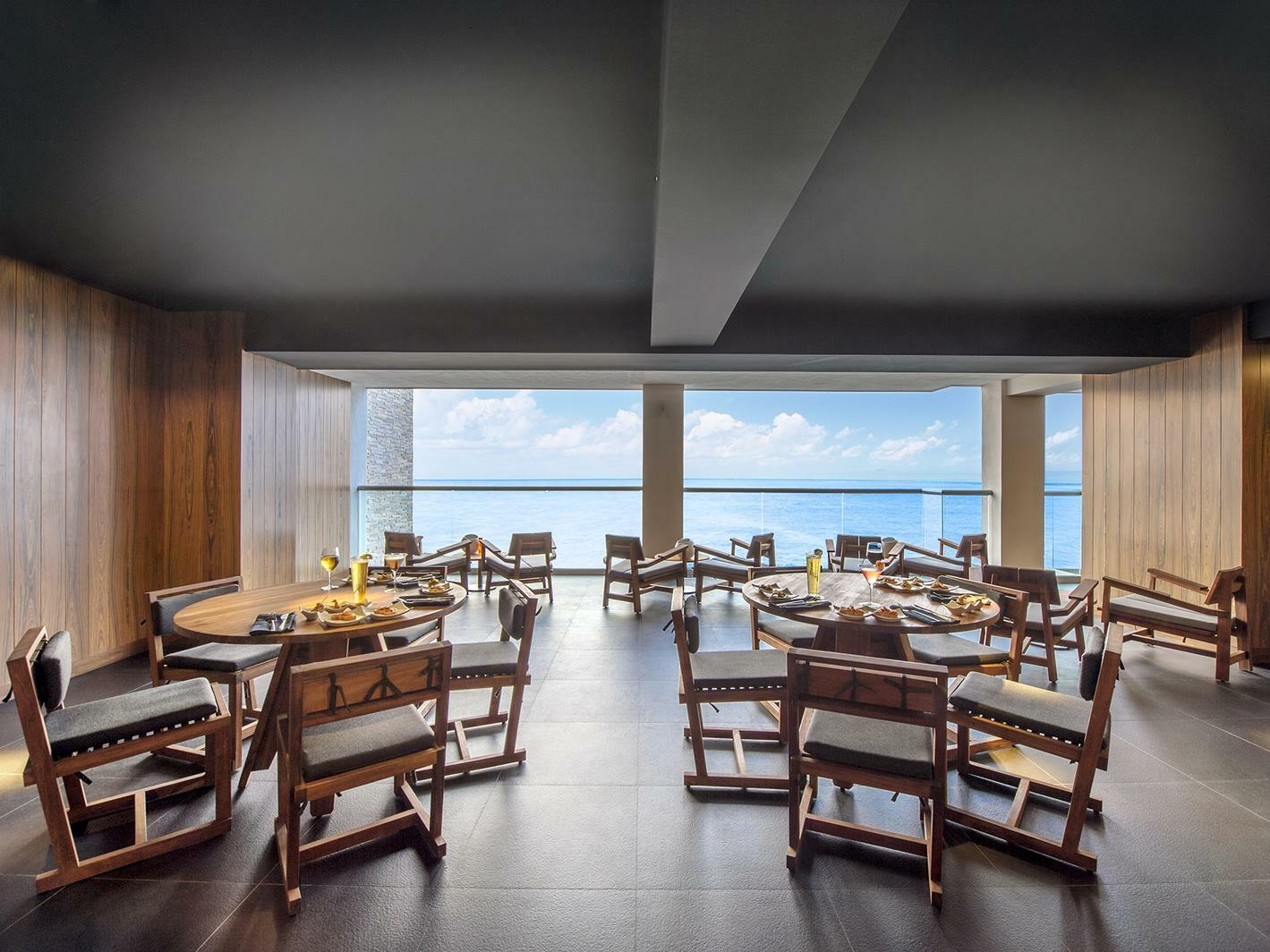 restaurant dining room with ocean view