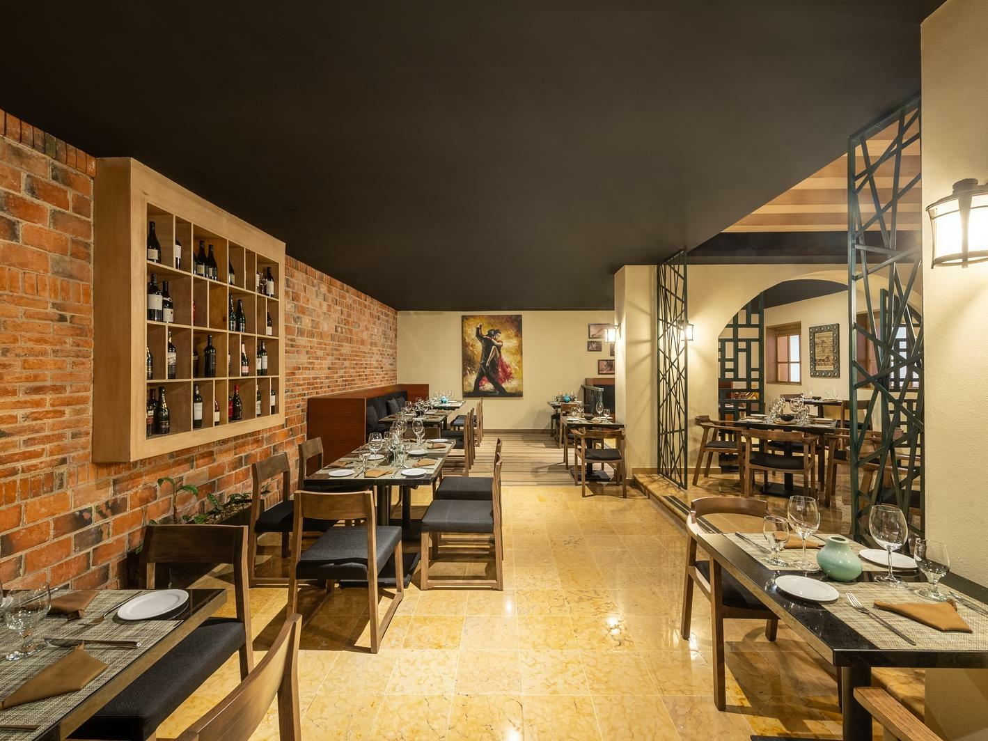 restauant dining room with brick wall