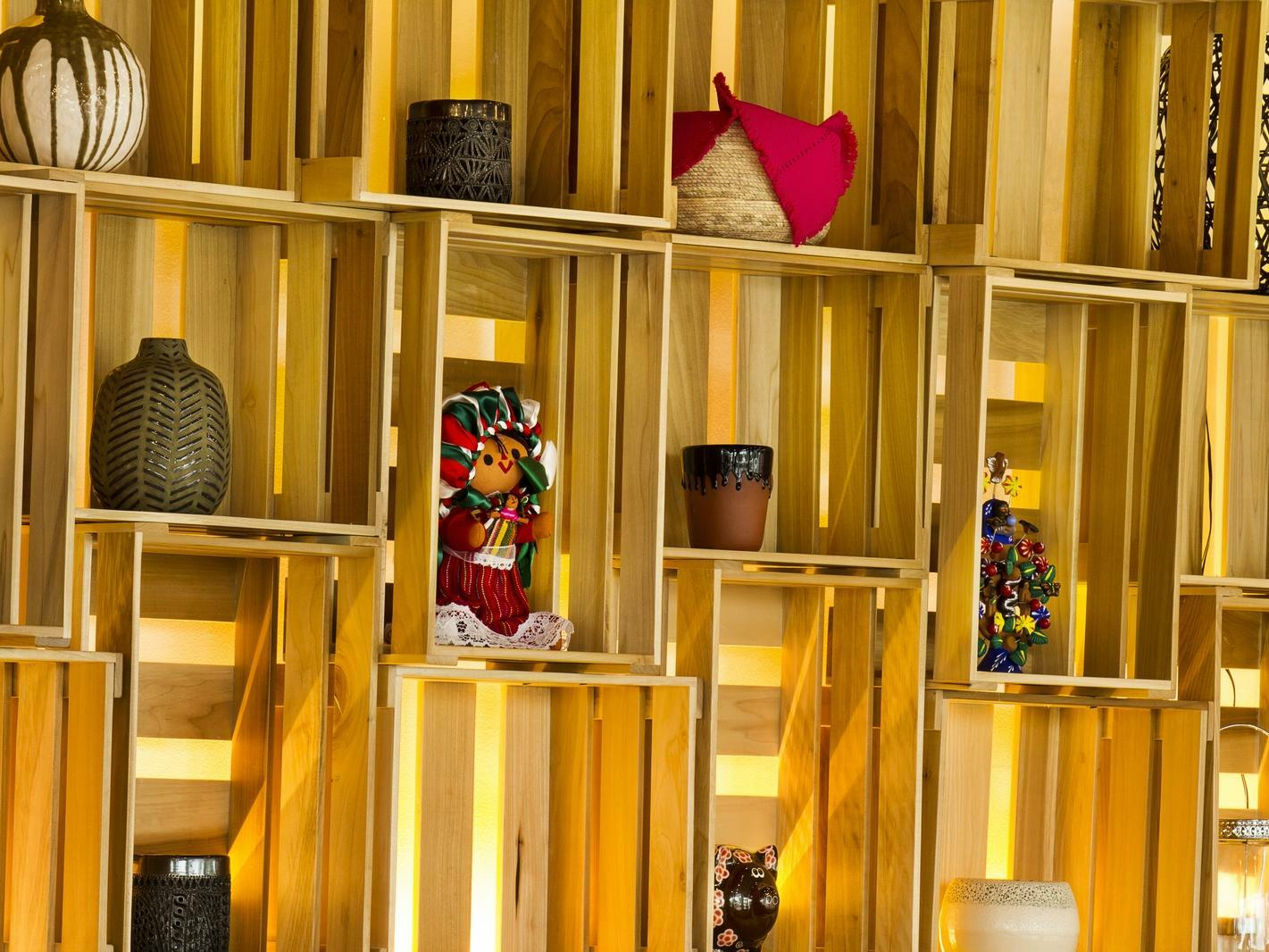 wall shelves with small art pieces or accessories