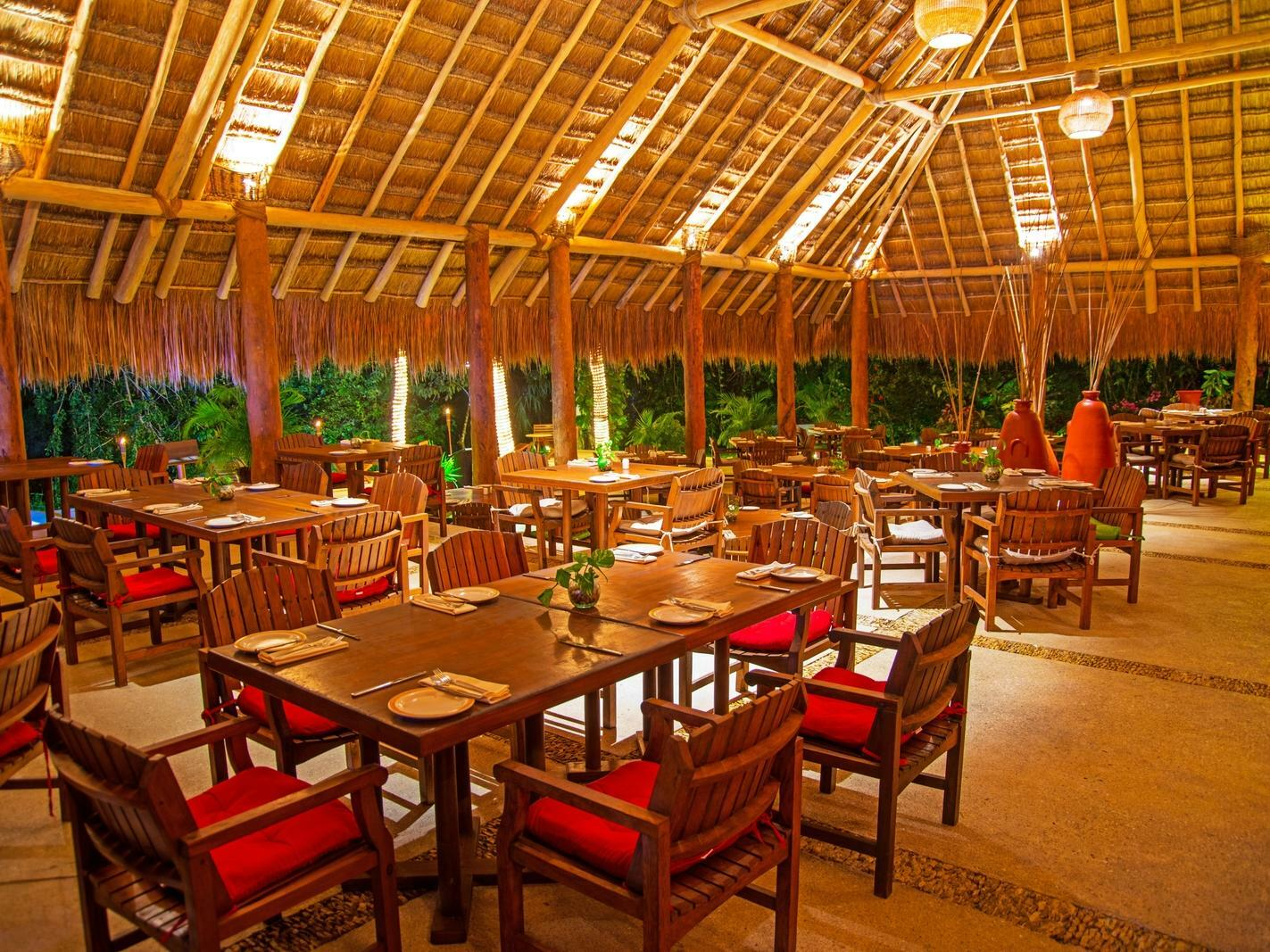 restaurant dining room with canopy roof