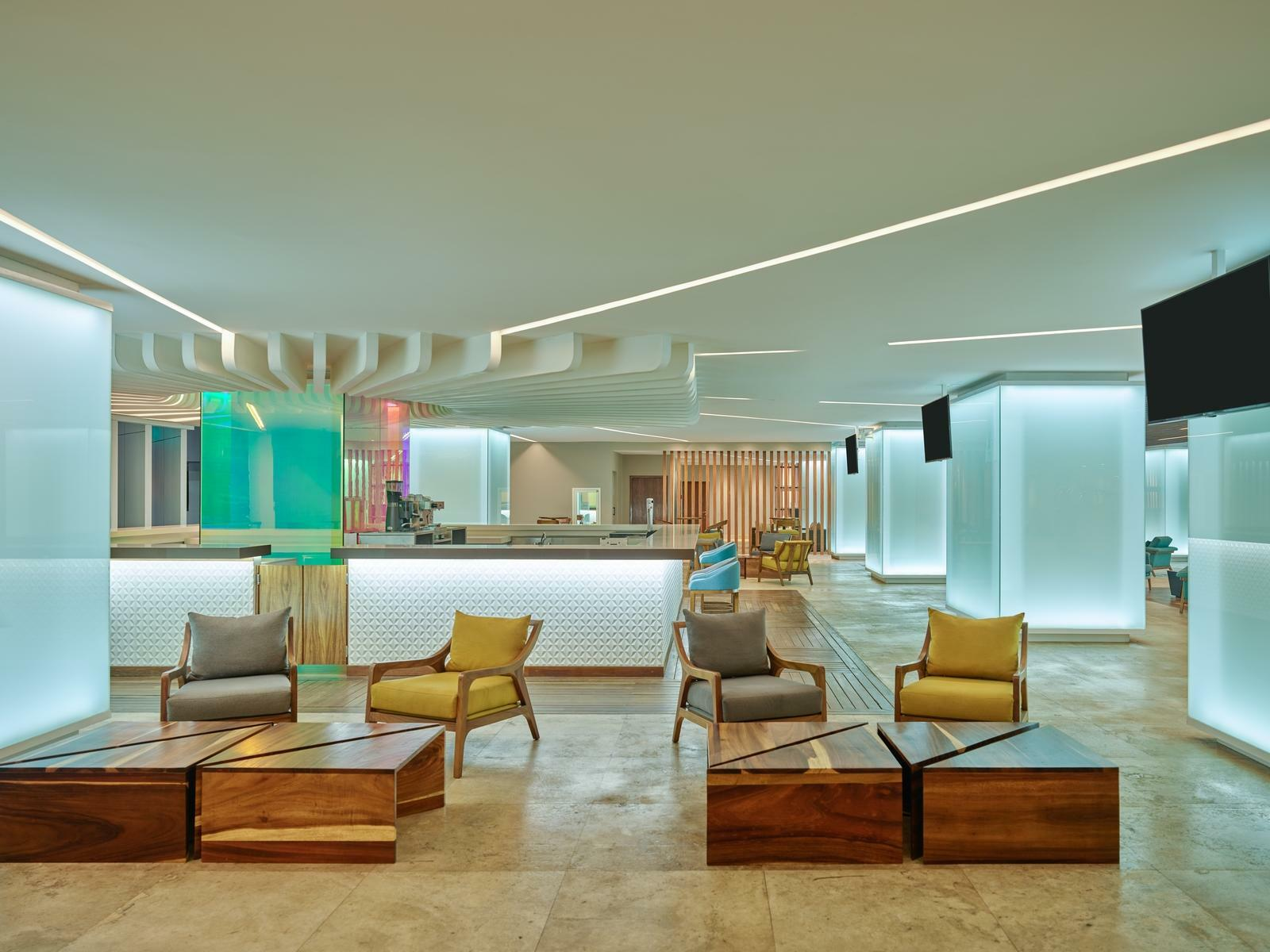 lobby with lounge seating and coffee tables
