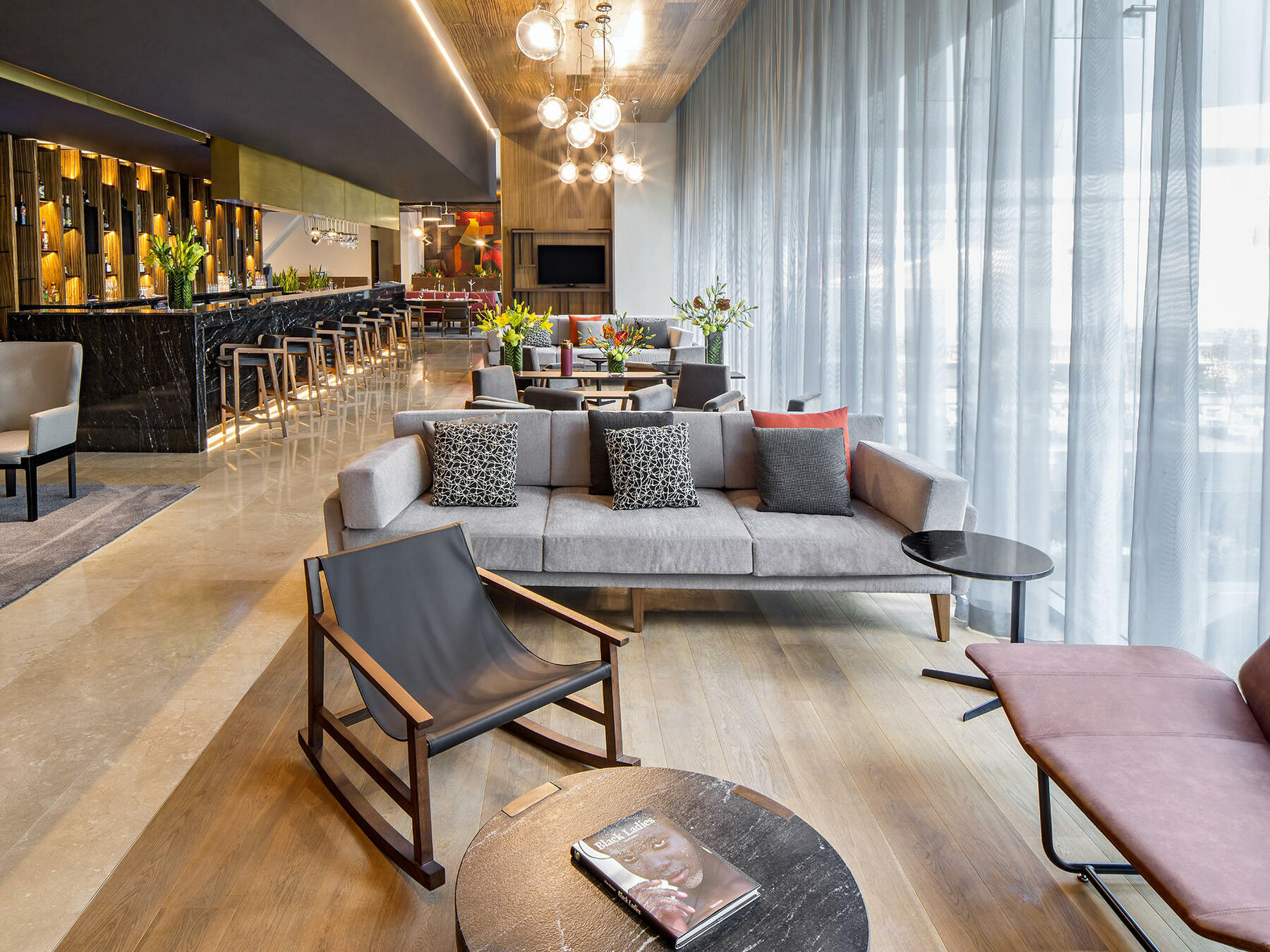 bar with lounge seating