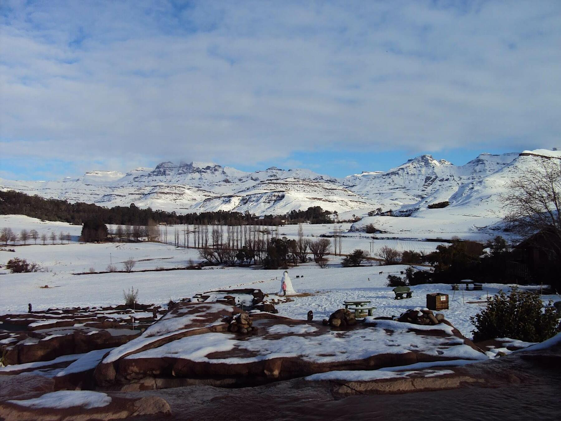 Bushman's Nek Landscape Covered With Snow