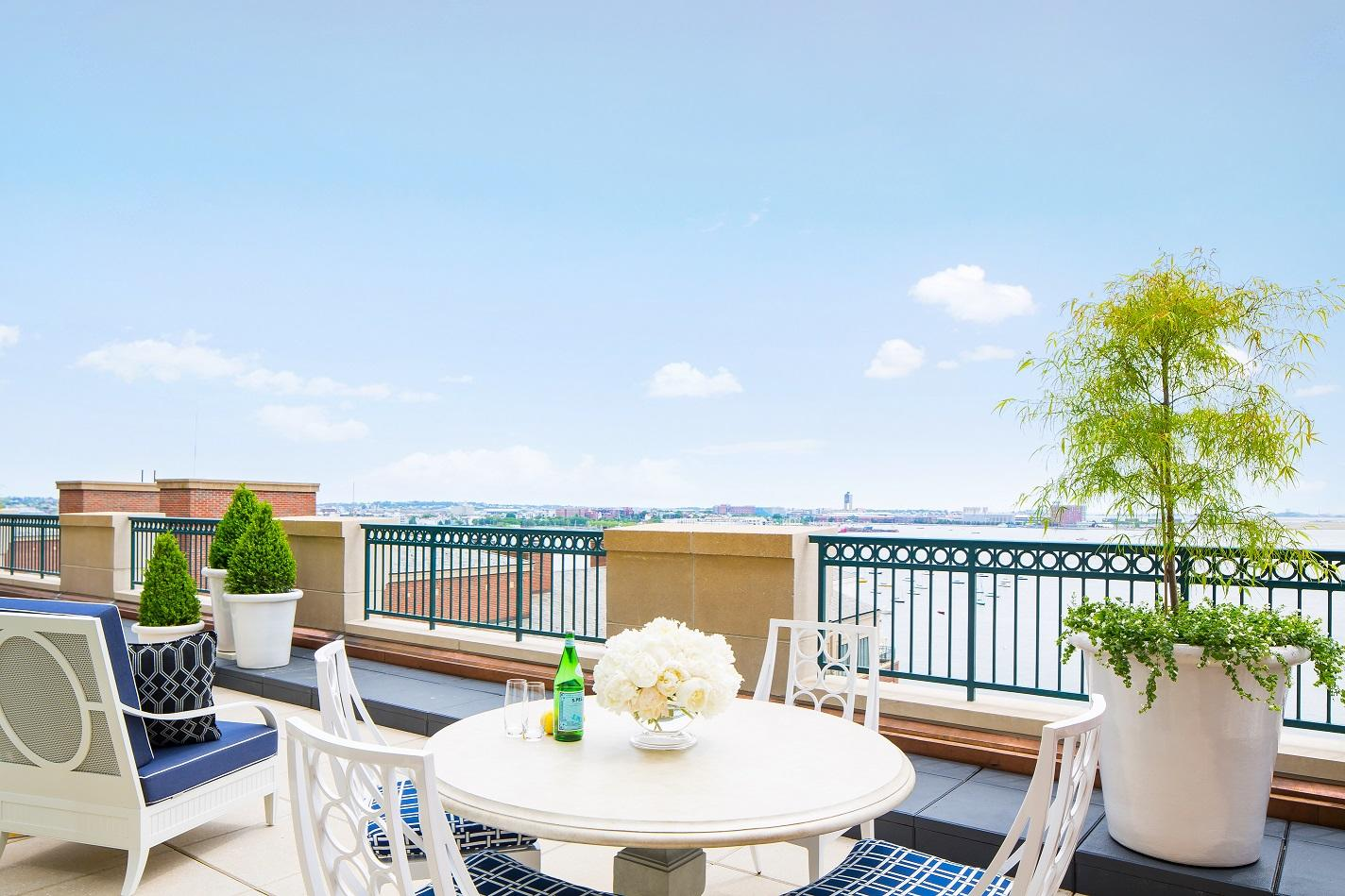 Presidential Suite terrace overlooking Boston Harbor