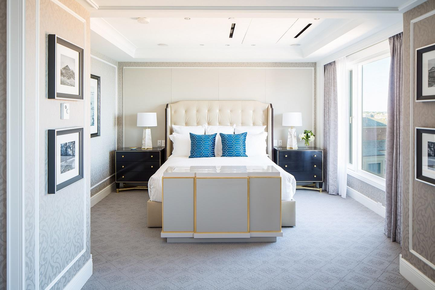 Master bedroom in Boston Presidential Suite