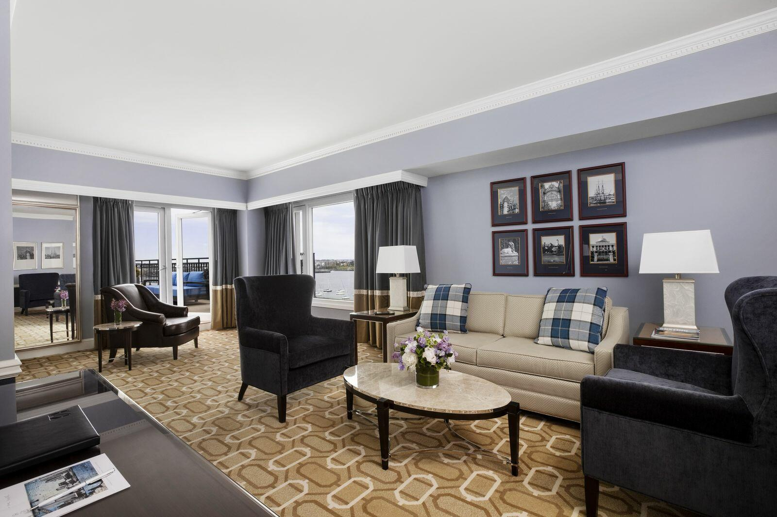 Living area of Admiral's Suite with harbor view