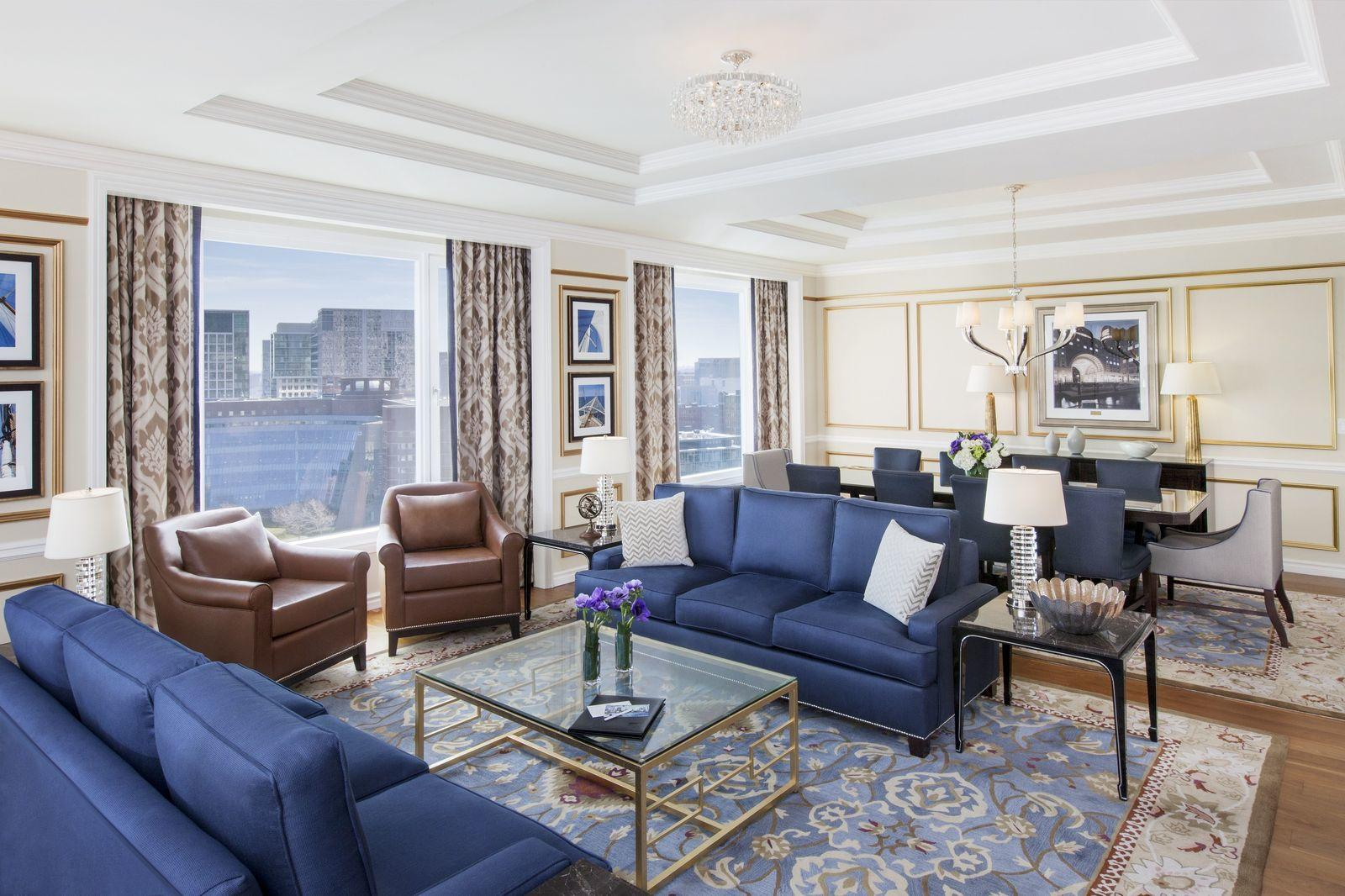 Presidential Suite living room with Boston skyline view