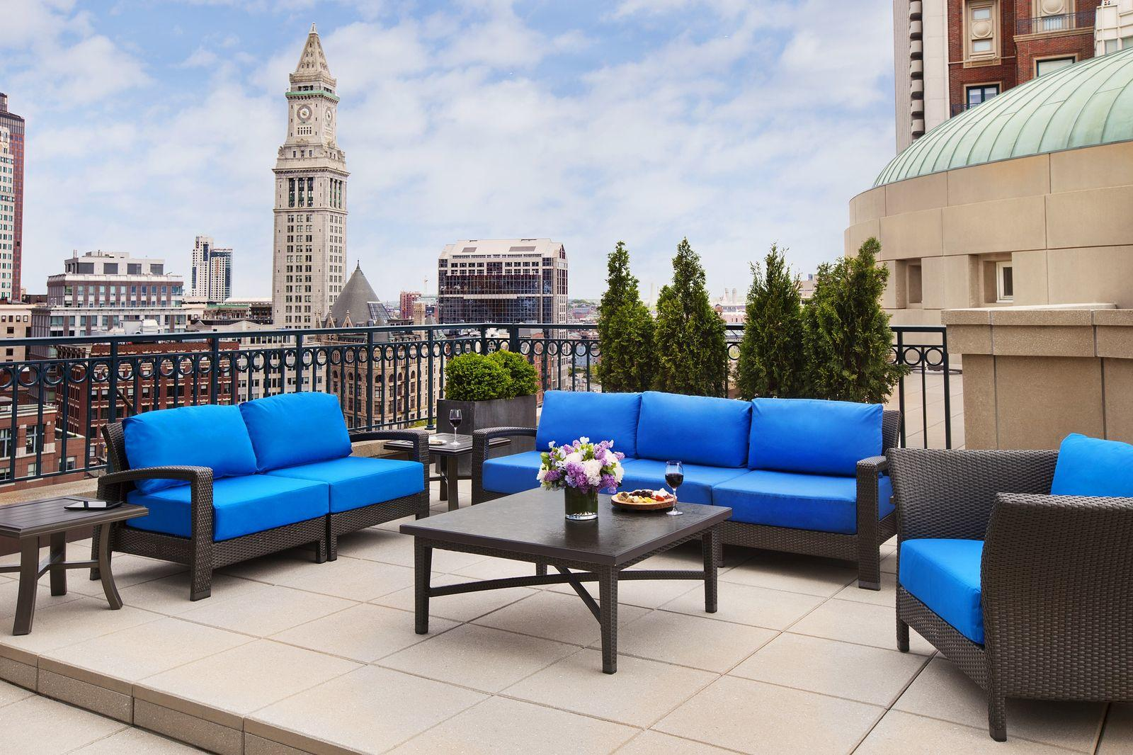 Hotel suite balcony with Boston skyline view