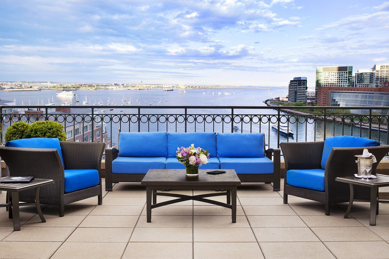 Hotel balcony with Boston Harbor view