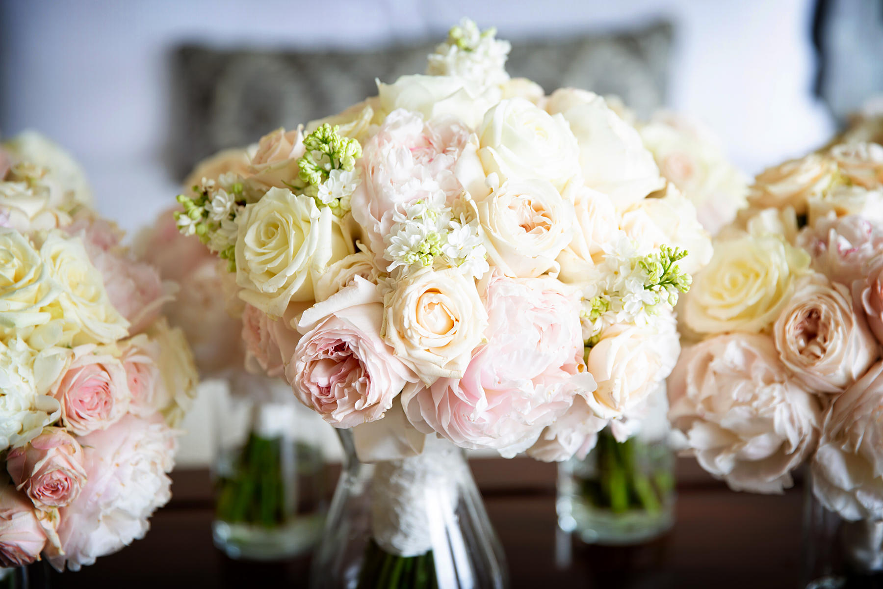 Wedding bouquets as centerpieces