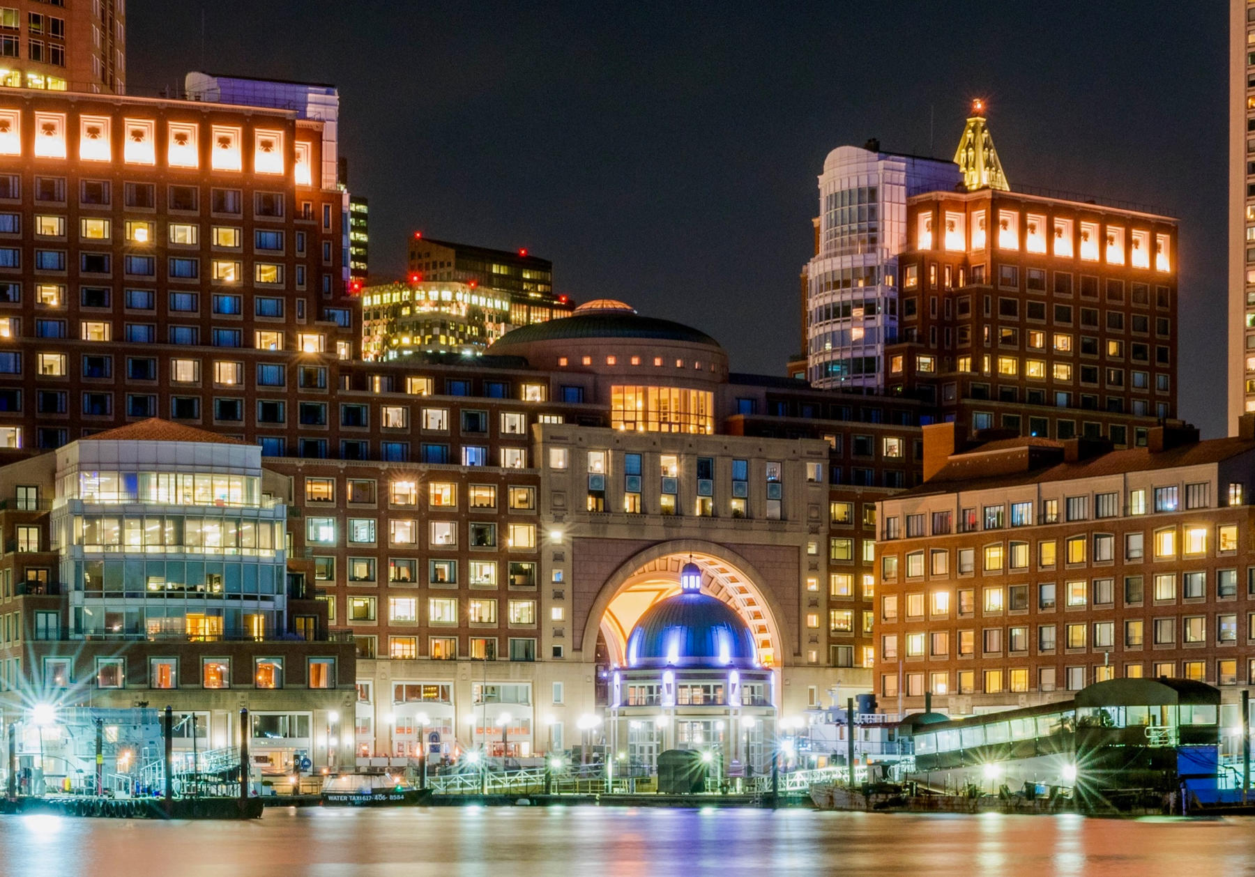 Boston Harbor Hotel exterior at night