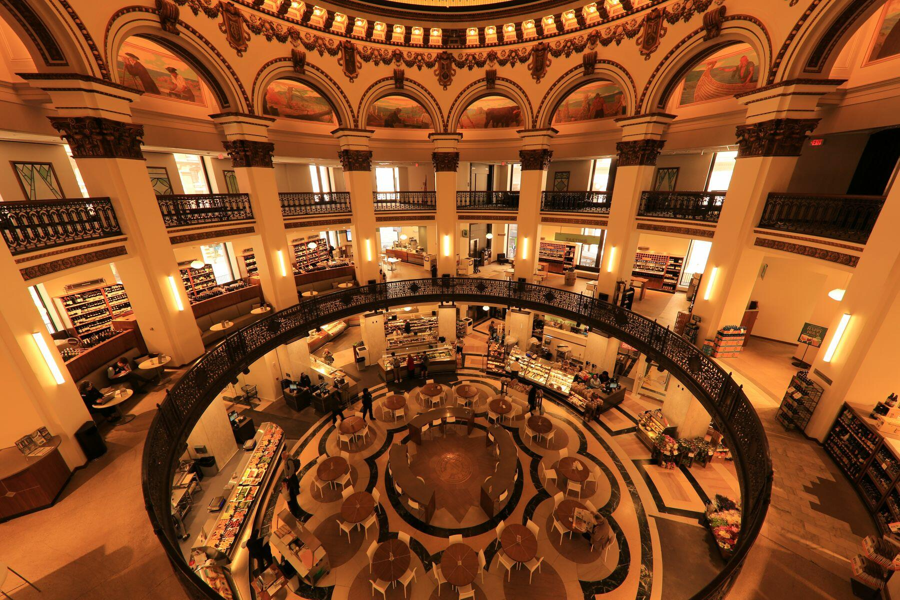 Interior of Heinen's Market, under a stained-glass rotunda