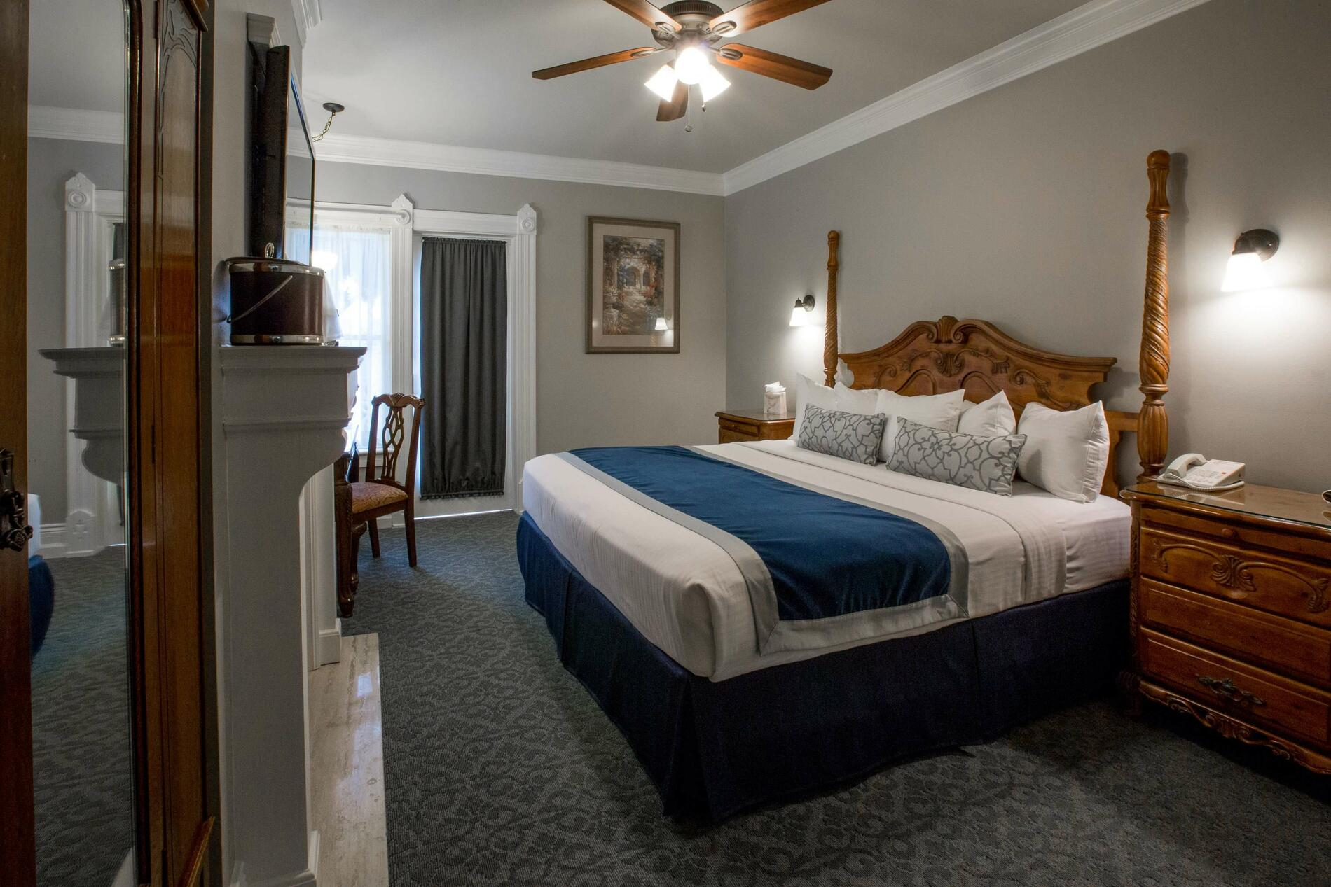 King bed and nightstand
