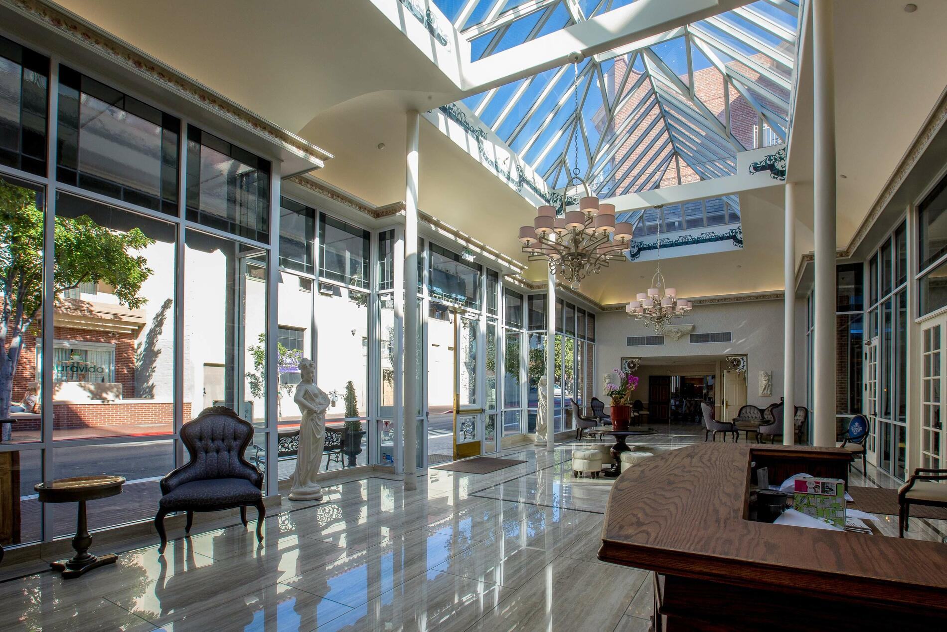 Hotel lobby with skylights and check in desk