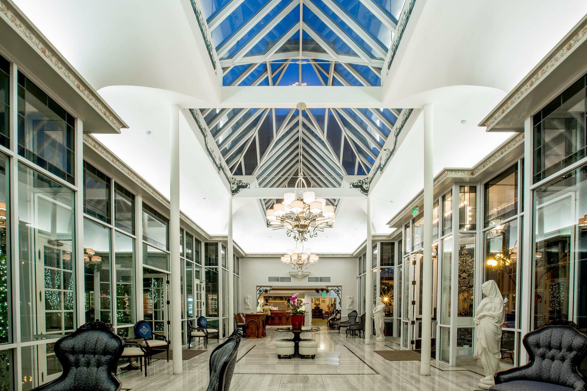 Hotel lobby with skylights