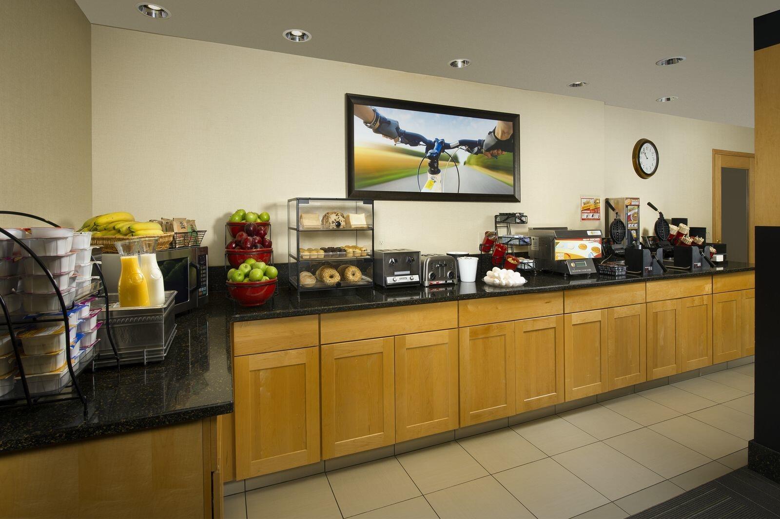 Breakfast buffet area
