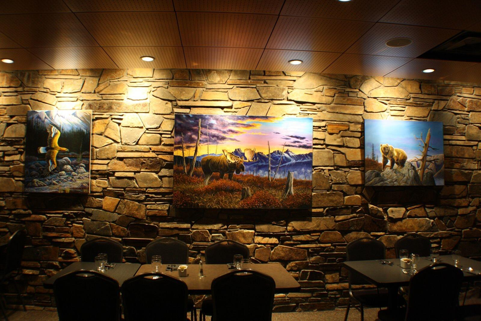 Artwork displayed in restaurant