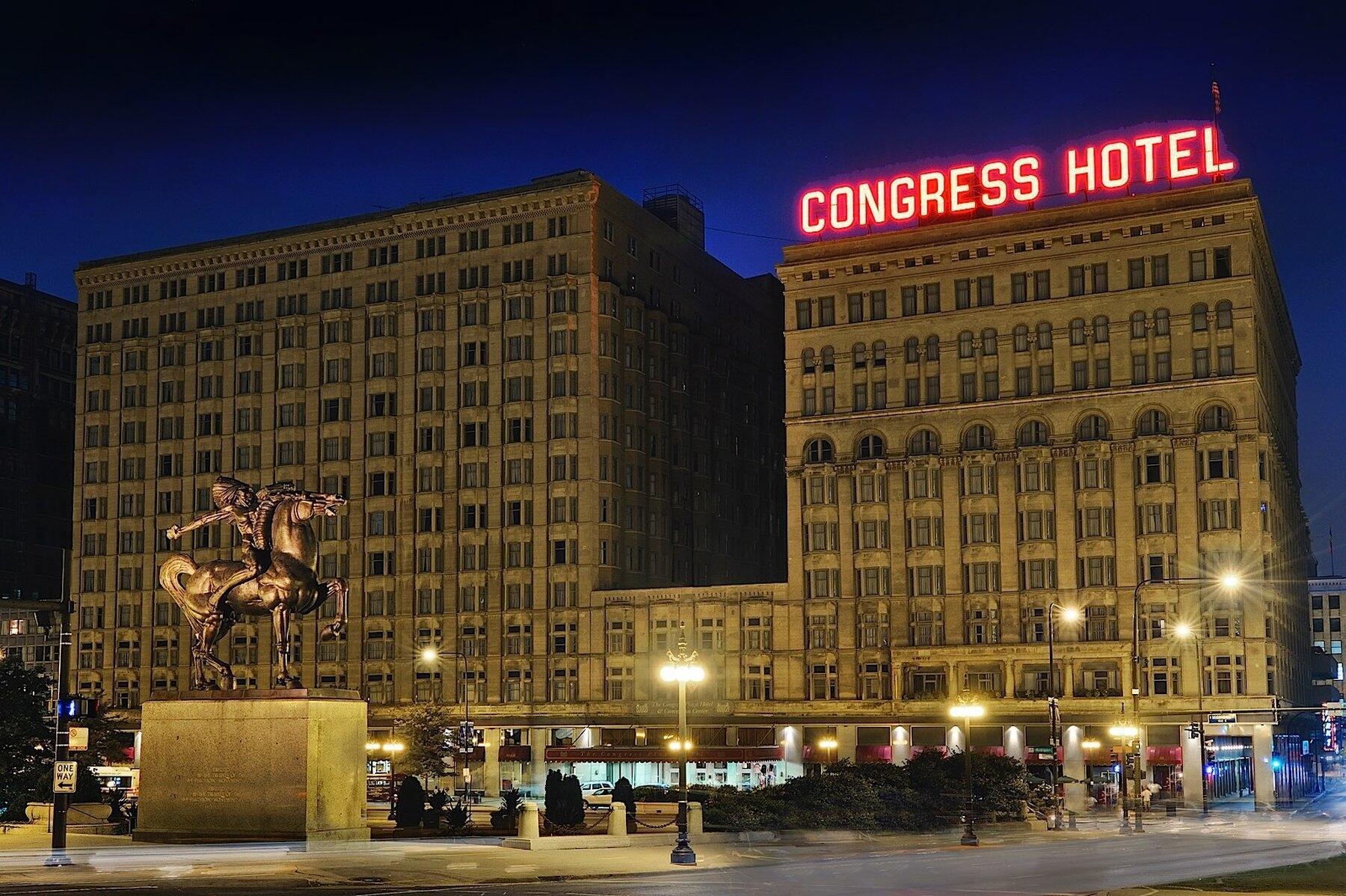 Congress Plaza Hotel Exterior at night