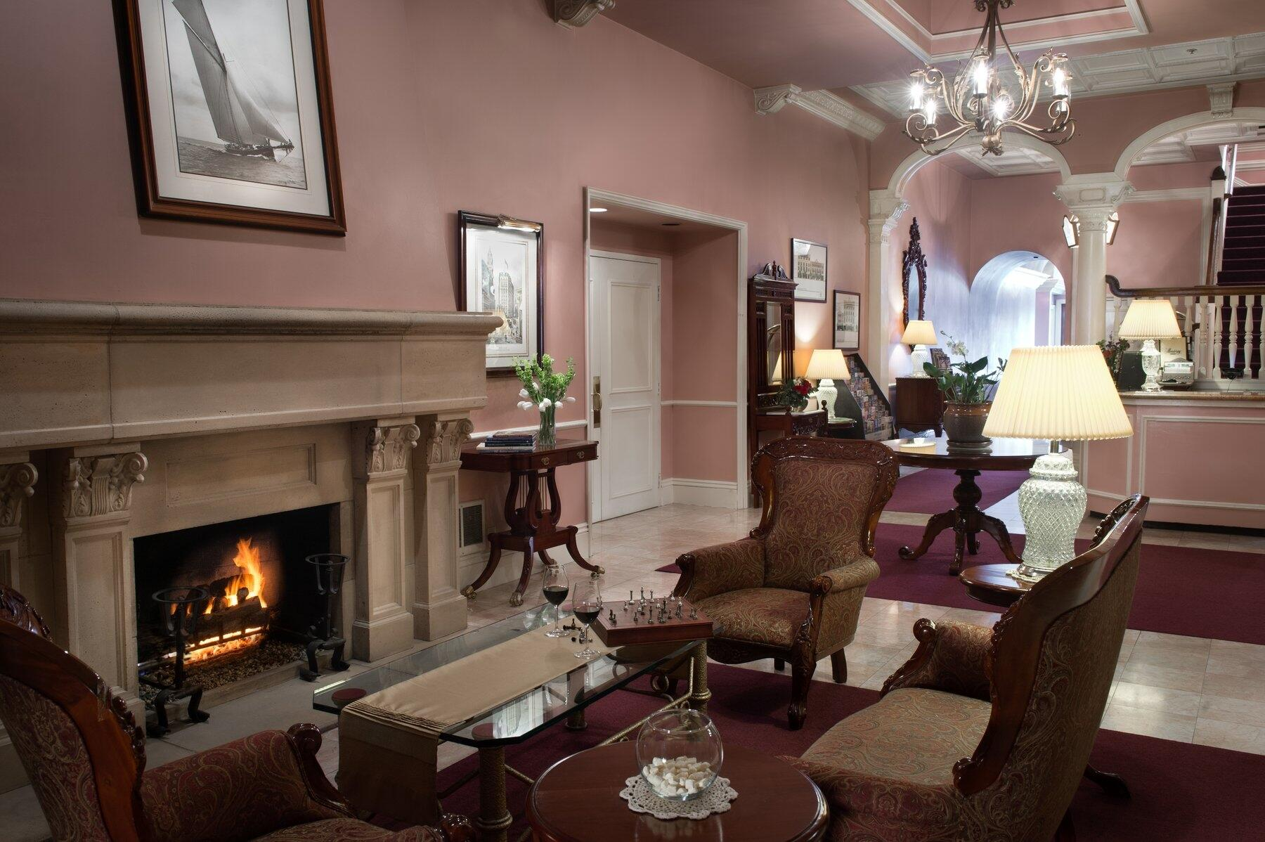 Lobby with fireplace at The Monterey Hotel