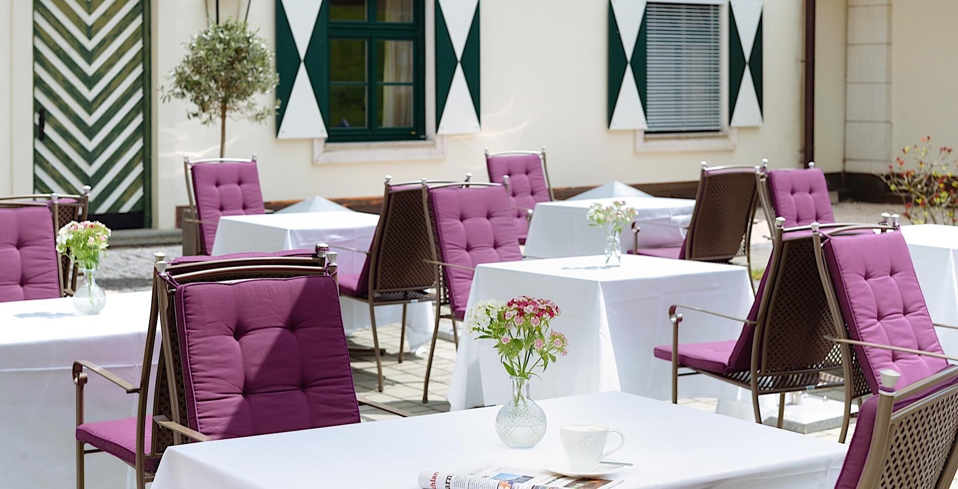 Schloss Restaurant Terrace at Romantik Hotel Schloss Pichlarn, A