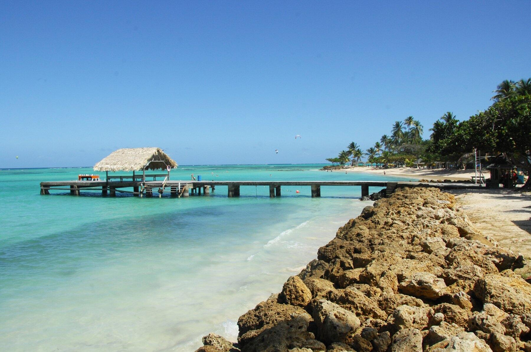 Long pier with gazebo at end at Tobago's Pigeon Point