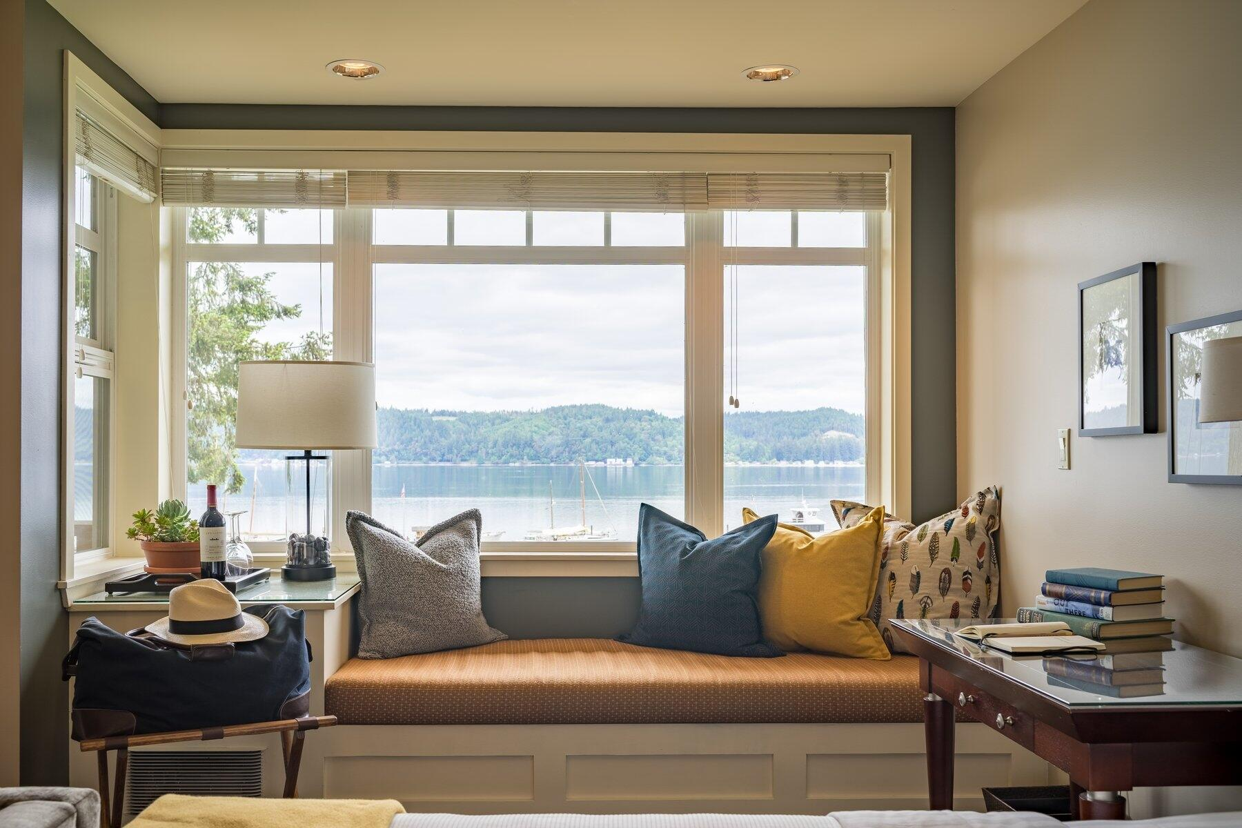 Window seat with waterfront view