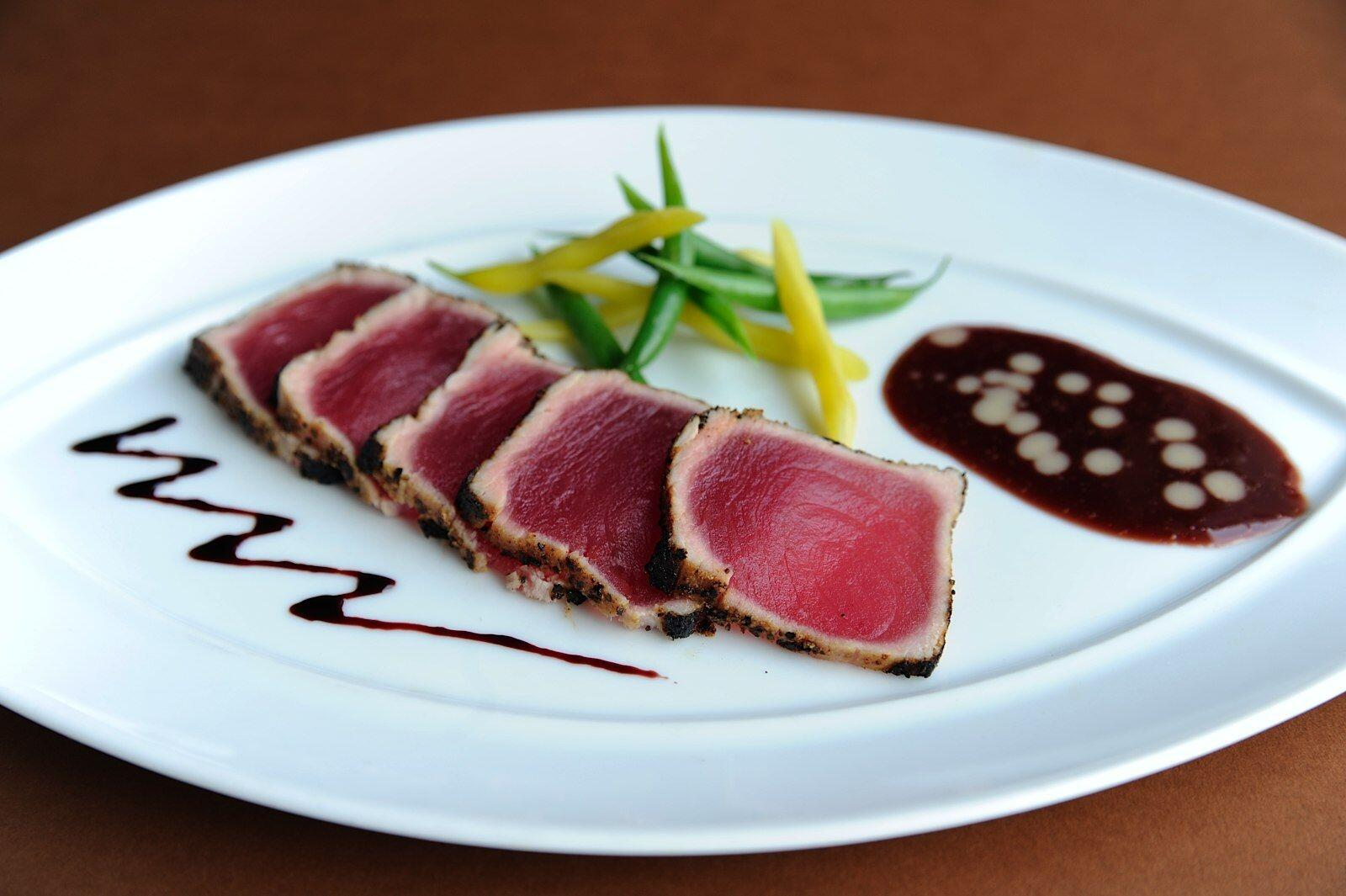 Seared yellowfin tuna dish
