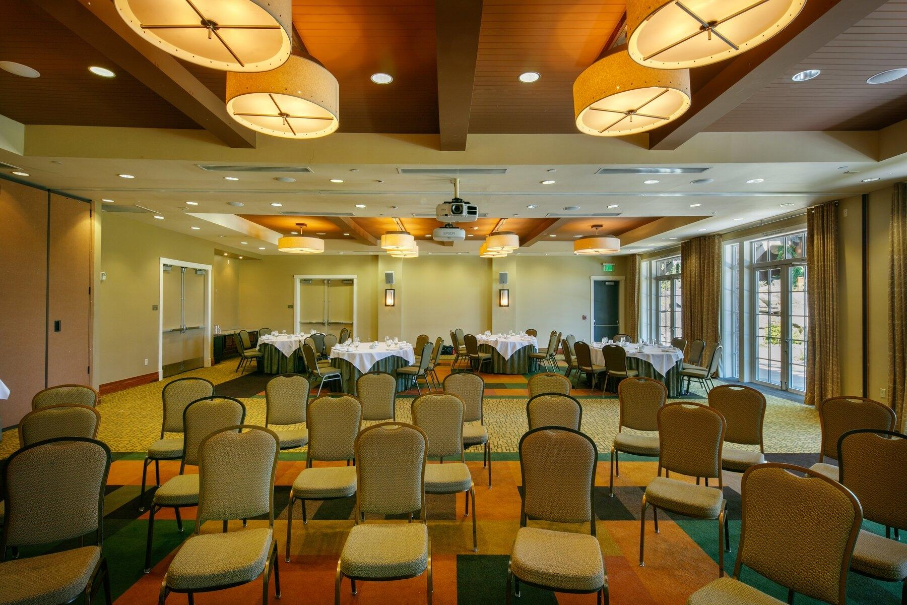 Banquet chairs in meeting space