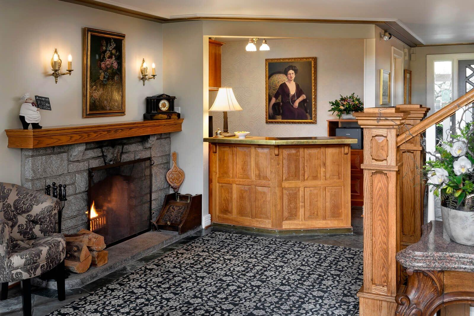 Lobby with fire place and check in desk