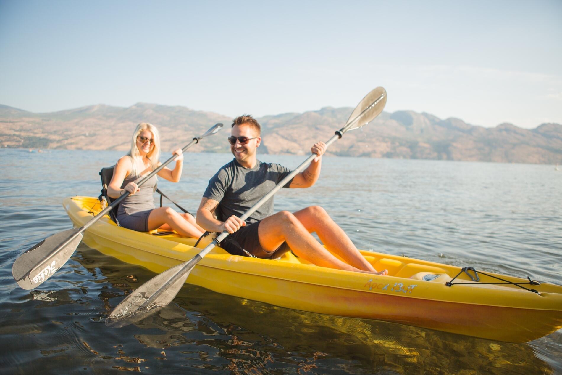 Guests kayaking on Lake Okanagan