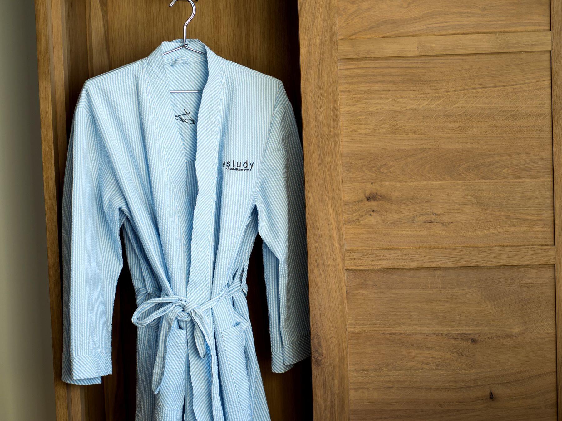 Robe hanging in closet