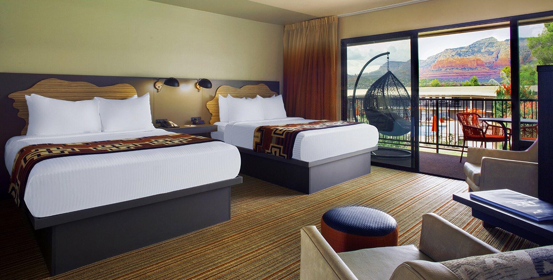 Courtyard suite hotel room, two queen beds & view of Red Rocks.