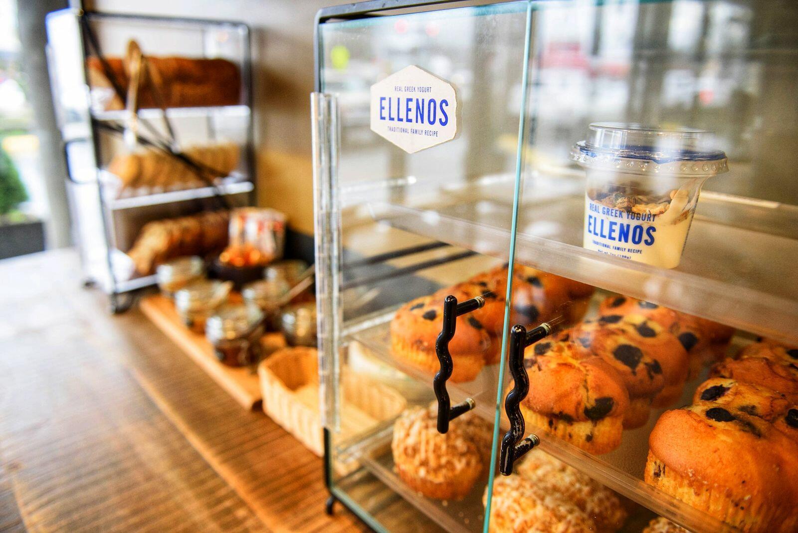 muffins and yogurt in bakery