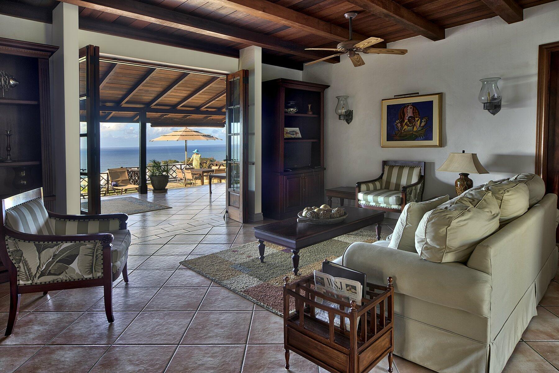 Living area of Trinidad villa with ocean view