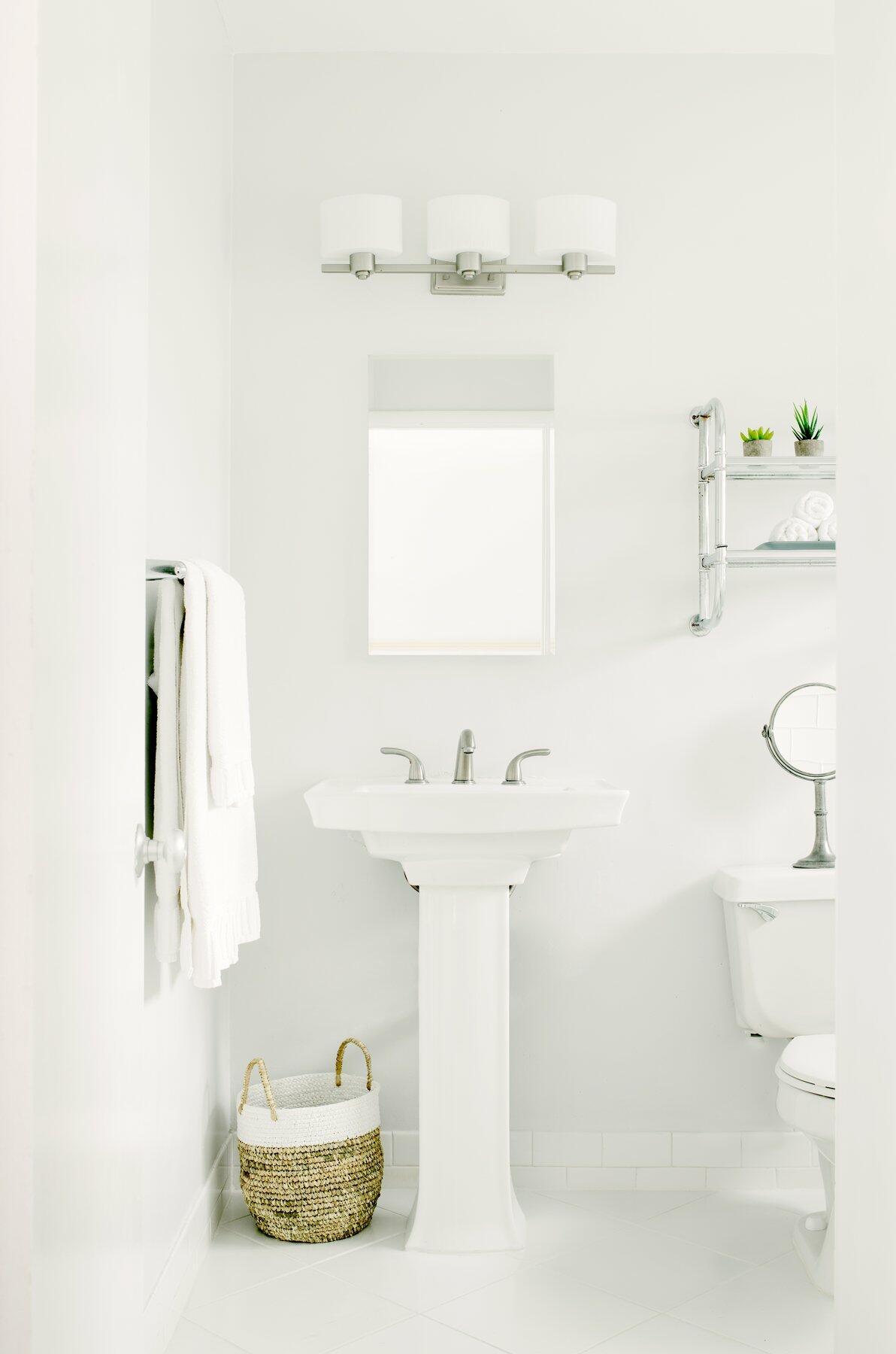 Pristine white hotel bathroom