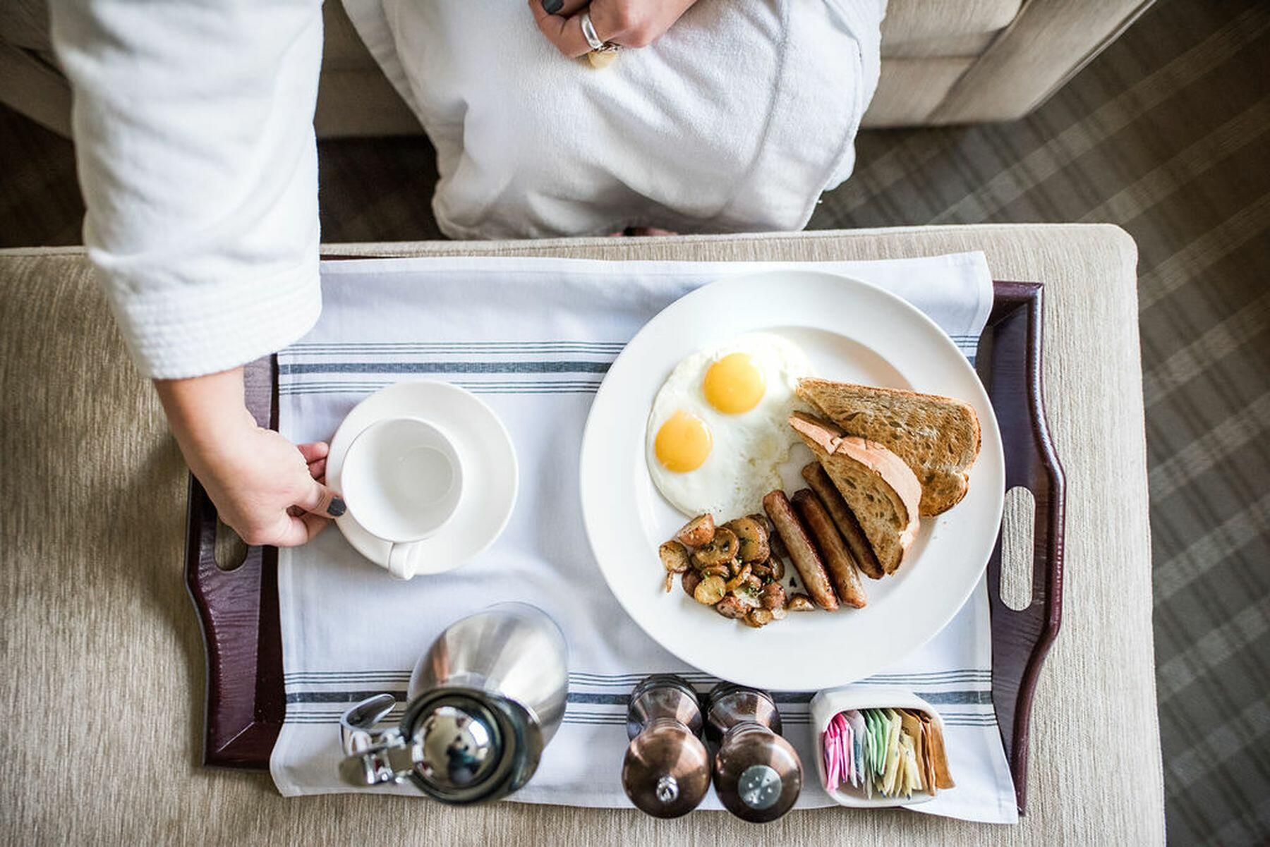 Breakfast serving tray for room service.