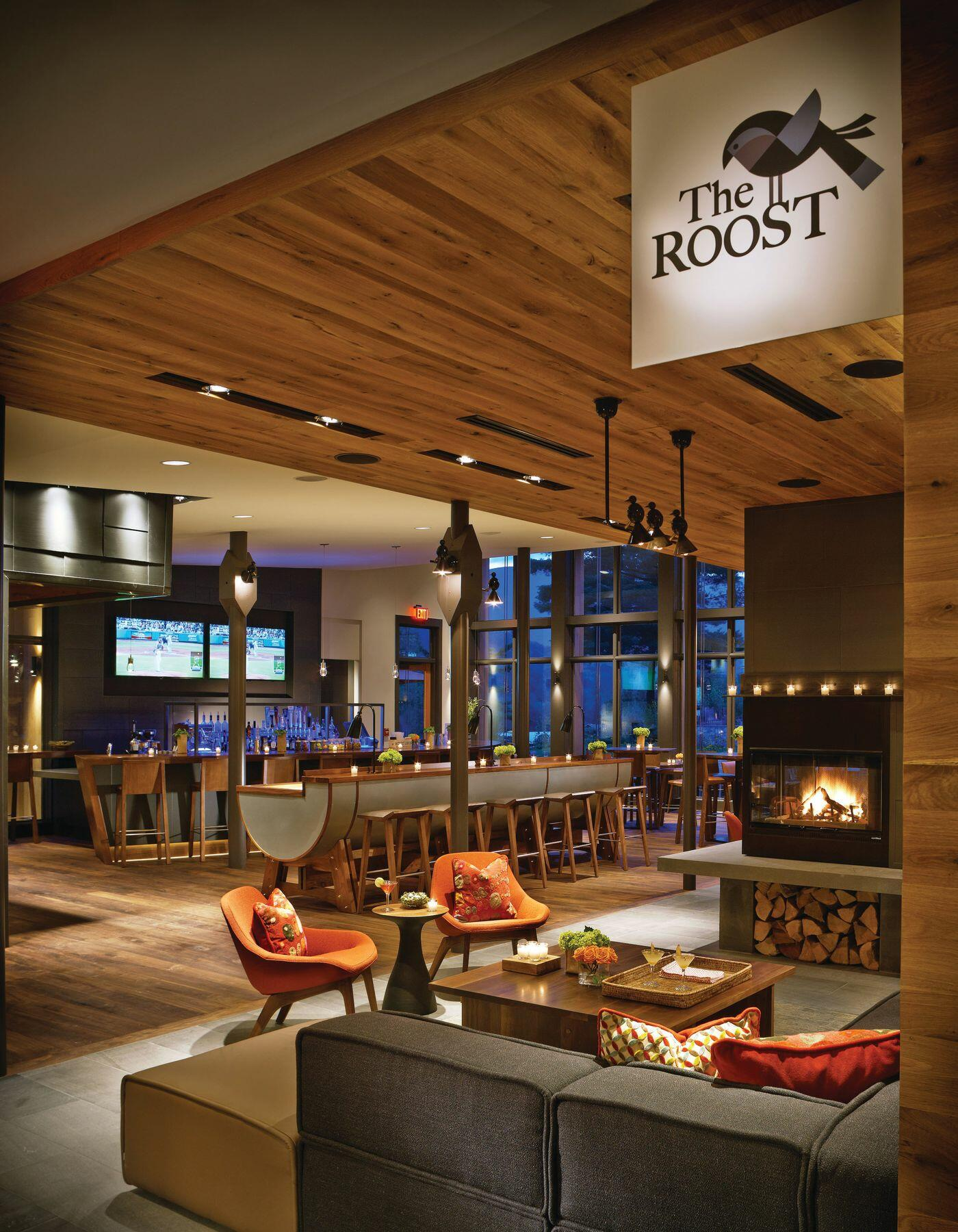 Cozy interior of The Roost restaurant.