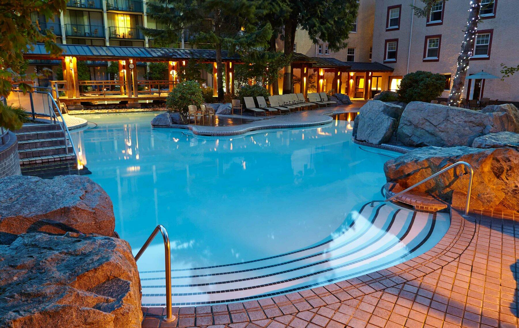 Outdoor pool at night.