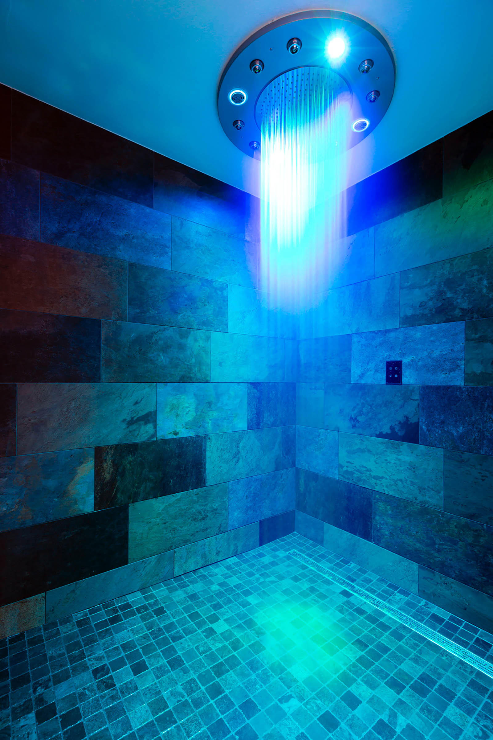 Blue Light in Spa Shower at Hotel Les Gentianettes, The Original