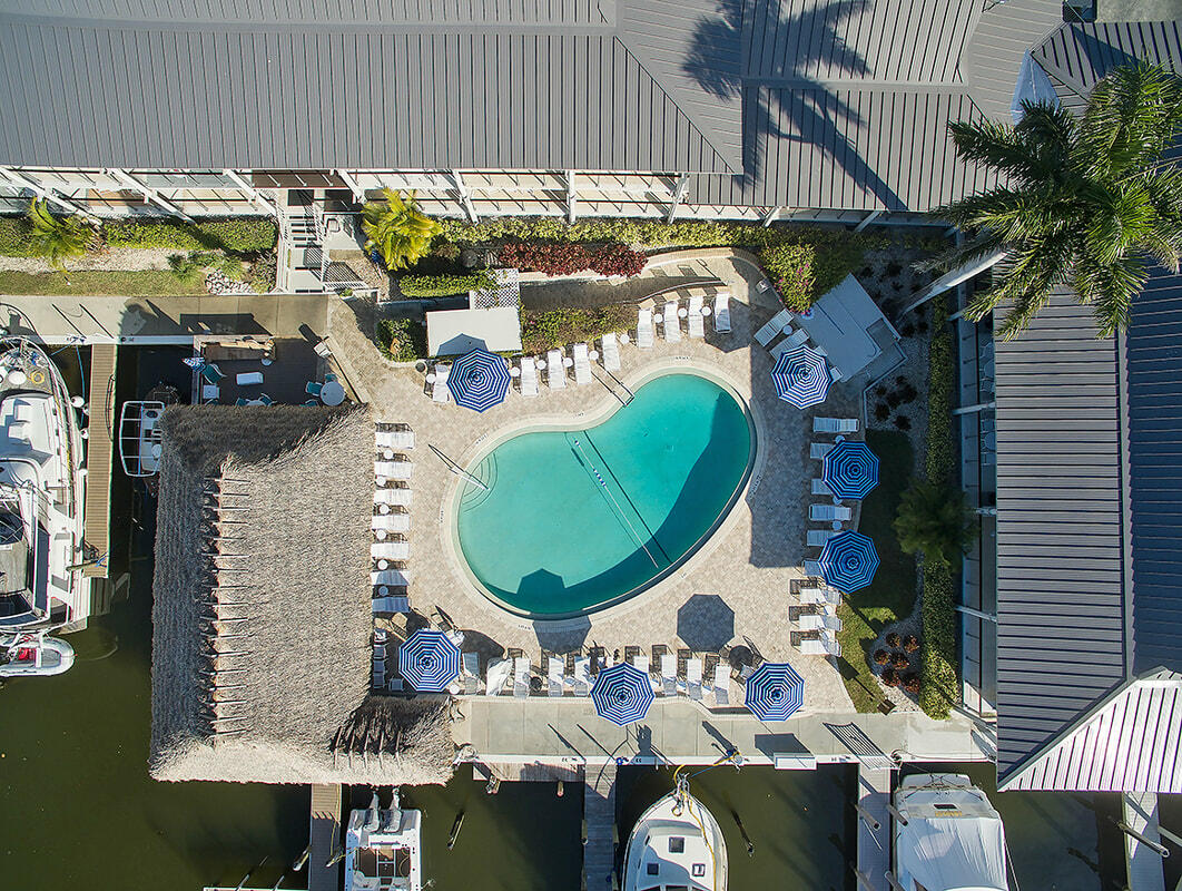 Aerial view of outdoor pool.